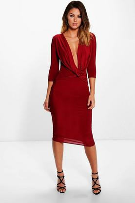 Poppy Cowl Neck Slinky Midi Dress