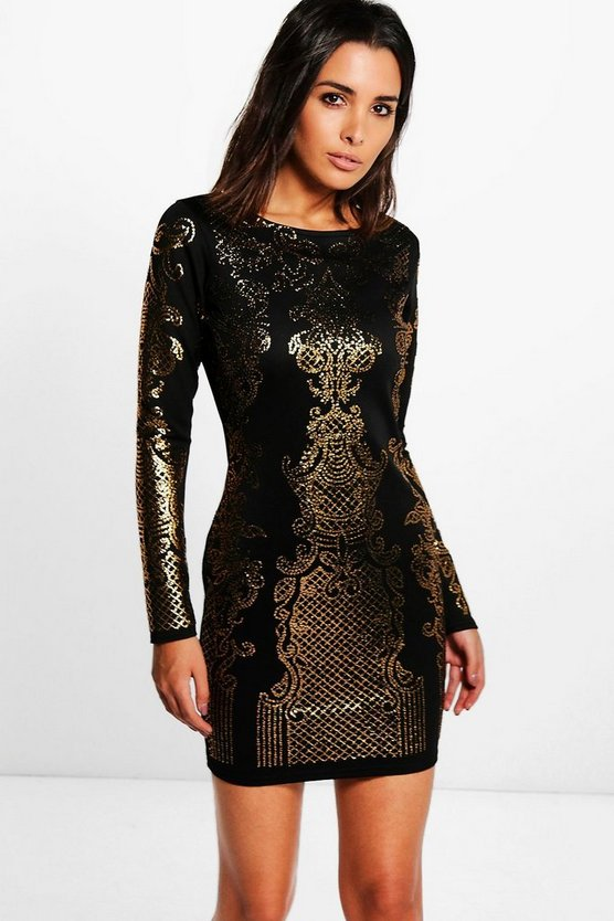 Jossa Embellished Pattern Bodycon Dress