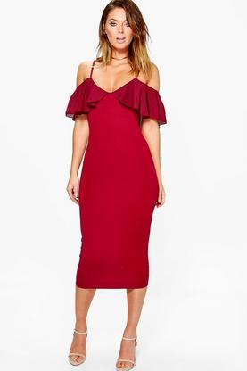 Aoife Chiffon Frill Cold Shoulder Midi Dress