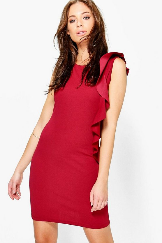 Akinyi Frill Side Round Neck Shift Dress