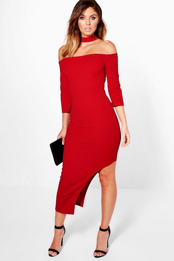 Nara Choker Off Shoulder Asymmetric Midi Dress