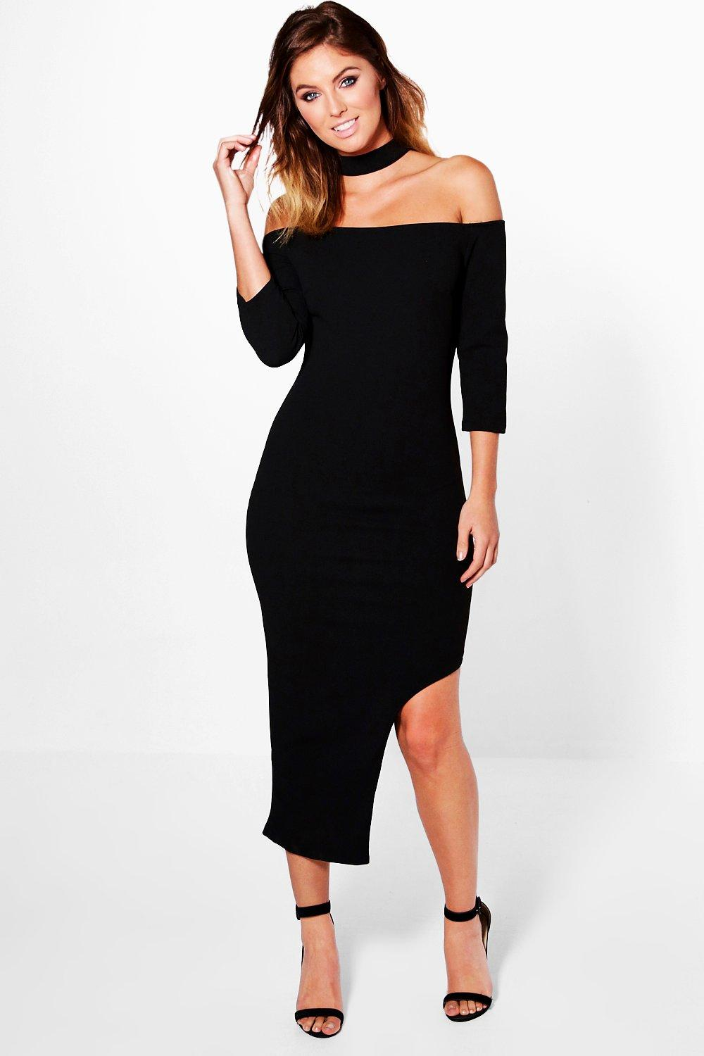 Choker Off Shoulder Asymmetric Midi Dress  black