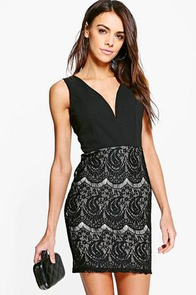 Sade Lace Contrast Plunge Bodycon Dress