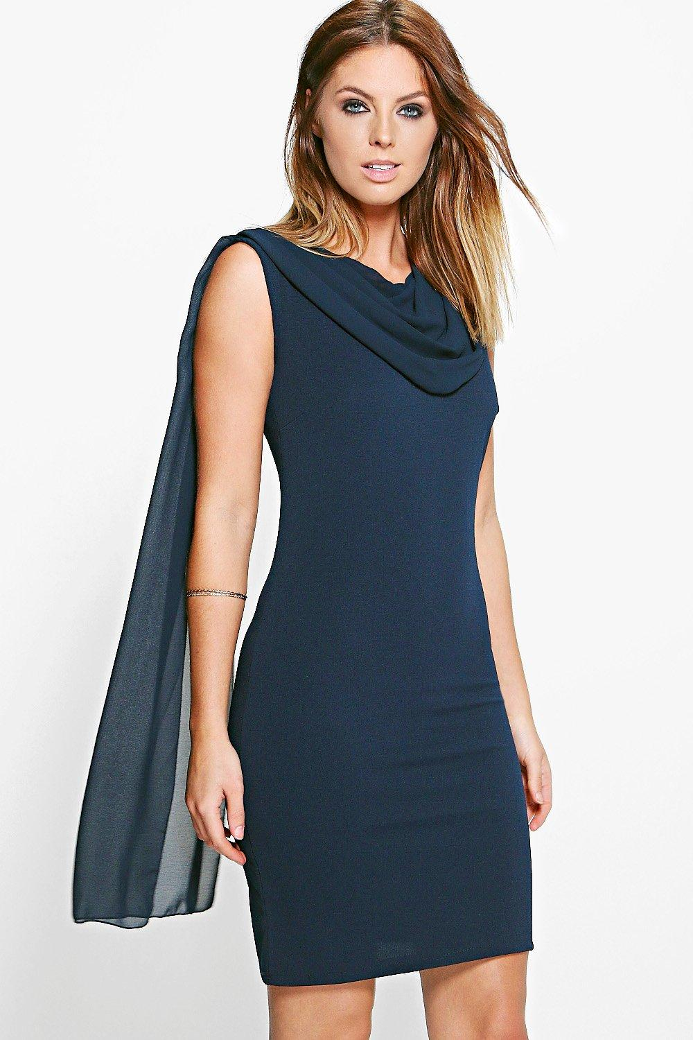 Ailsa Woven Cowl Neck Bodycon Dress
