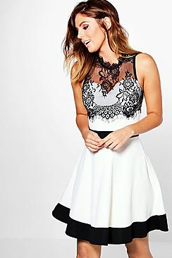 Aston Contrast Eyelash Lace Skater Dress