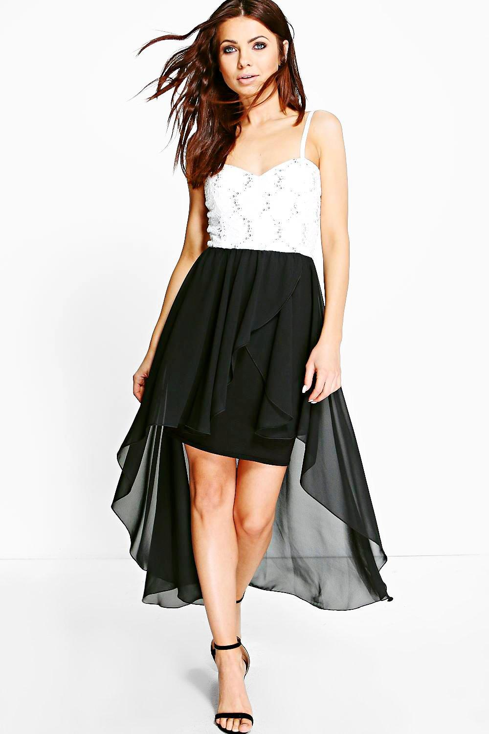 Jay Lace Sequin Chiffon Dip Hem Skater Dress