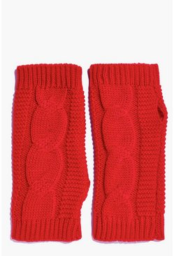 Amelia Fingerless Cable Knit Mittens