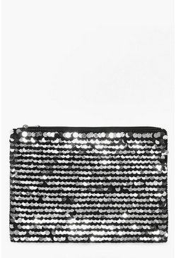 Tia Oversized Sequin Embellished Clutch Bag