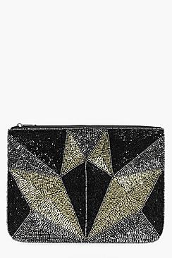 Zoe Geo Sequin Clutch Bag