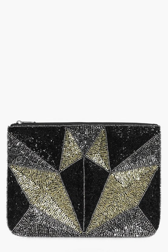 Zoe Geo Sequin Embellished Clutch Bag