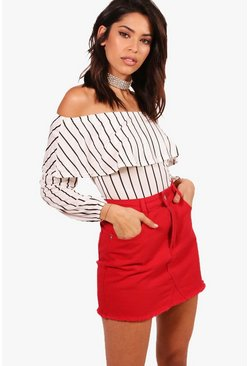 Clara Striped Ruffle Bardot Bodysuit