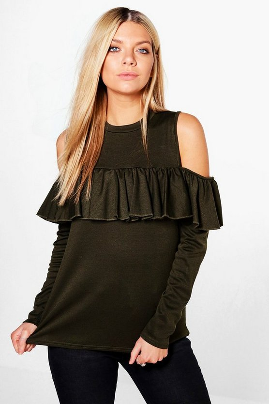 Kay Ruffle Cold Shoulder Sweatshirt