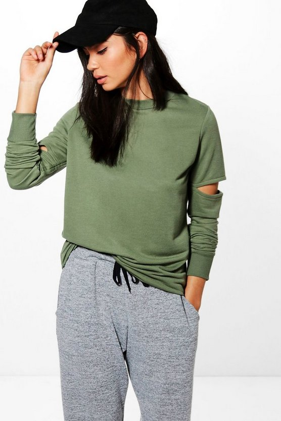 Natalie Cut Out Sleeve Sweatshirt
