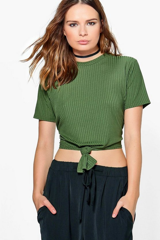 Lara Front Knot Ribbed Top