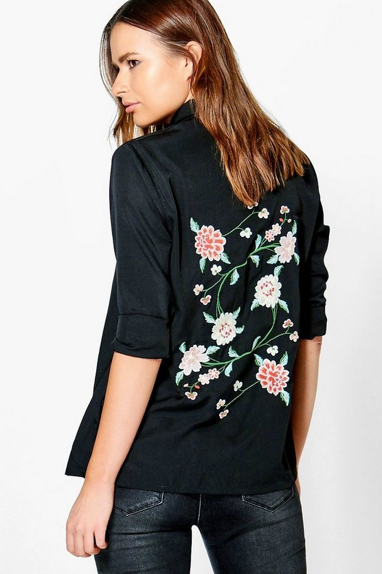 Jessie Boutique Embroidered Back Woven Shirt