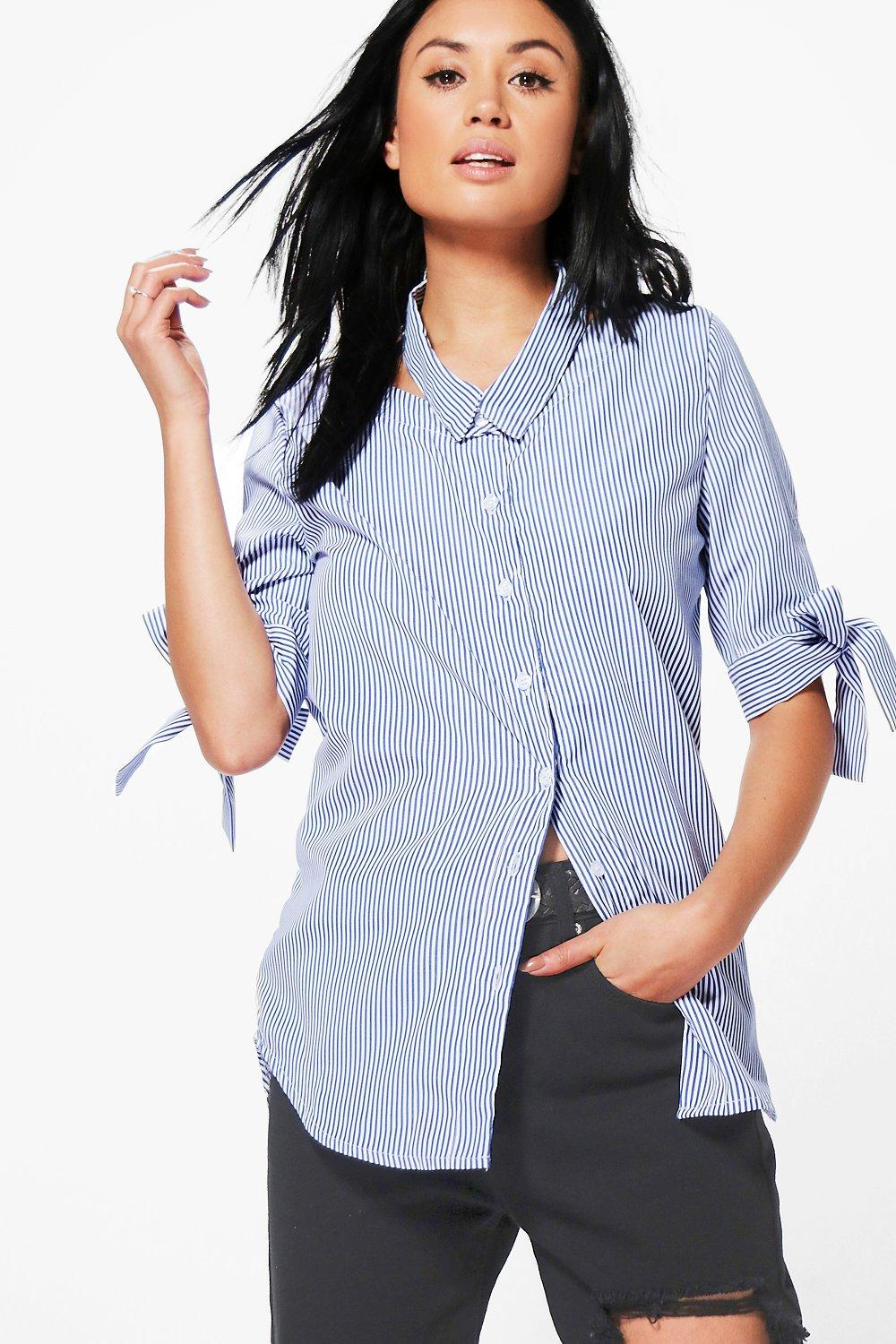 Libby Stripe Cut Out Collar Shirt