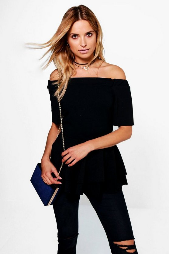 Maria Bardot Double Layer Peplum Top