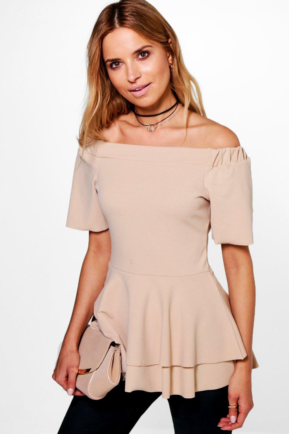 Boohoo Bardot Double Layer Peplum Top Shopping Online For Sale 0Pzeep