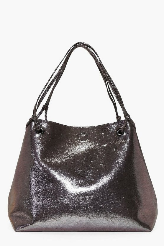 Ruby Eyelet Shopper Metallic Day Bag