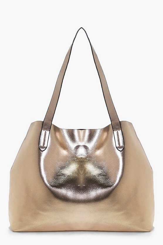 Victoria Metallic Popper Shopper Bag