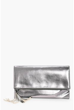 Sofia Metallic Fold Over Clutch Bag