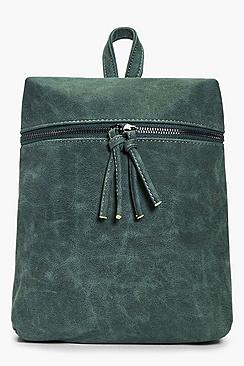 Charlotte Zip Detail Denim Look Backpack