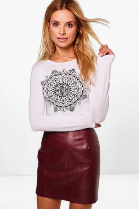 Ester Ethnic Print Long Sleeve Crop