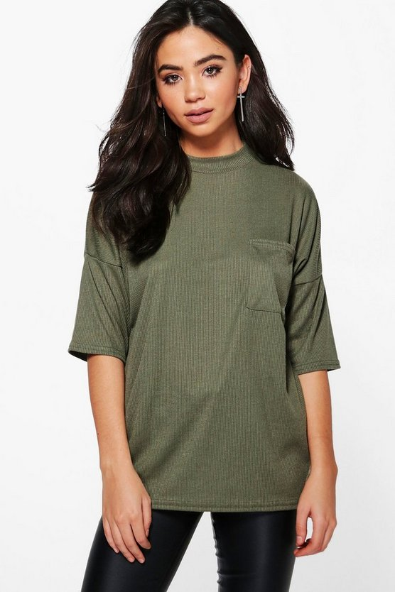 Talia Turtle Neck Ribbed Pocket T-Shirt