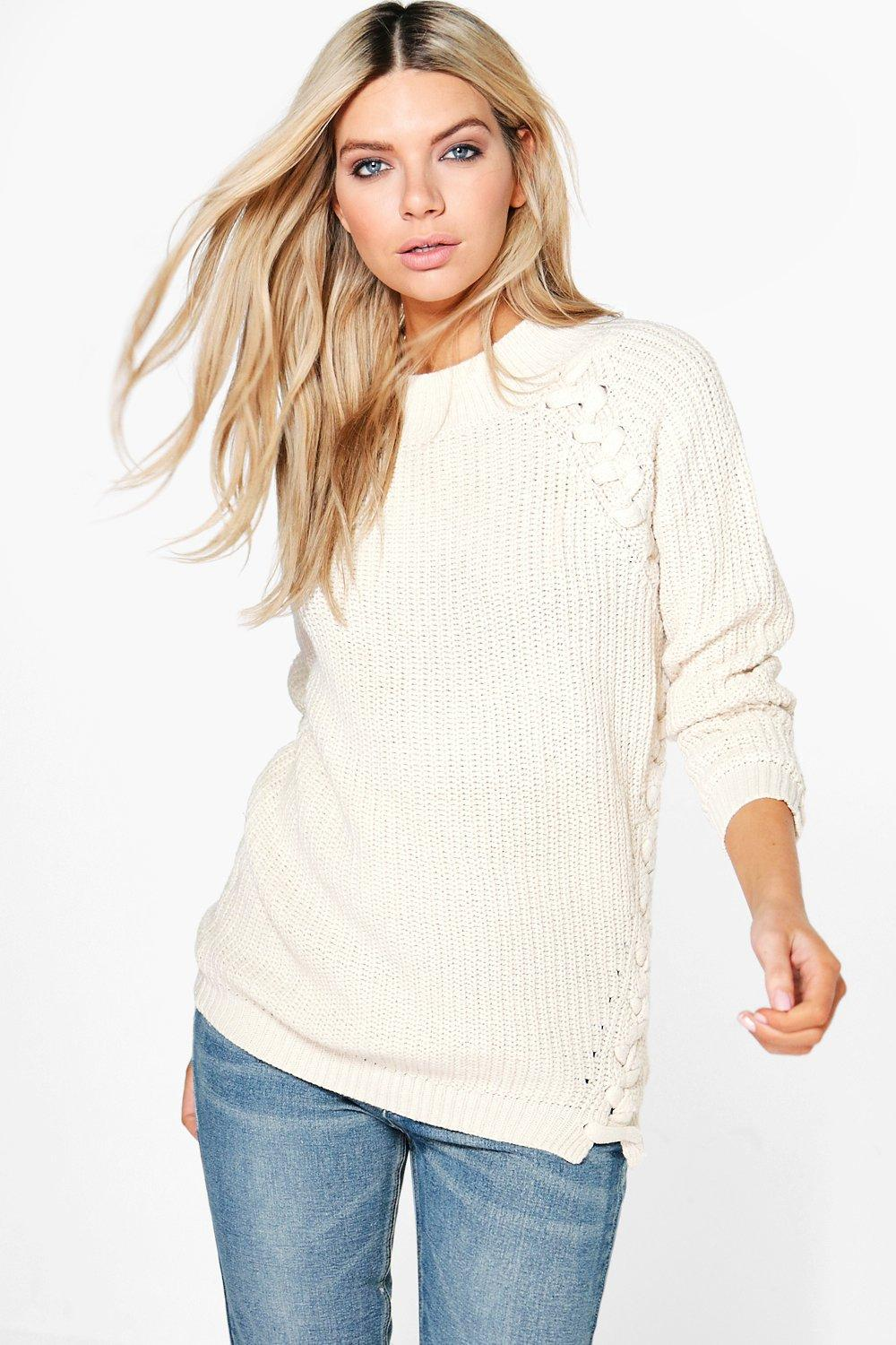 Paige Lace Up Detail Fisherman Jumper