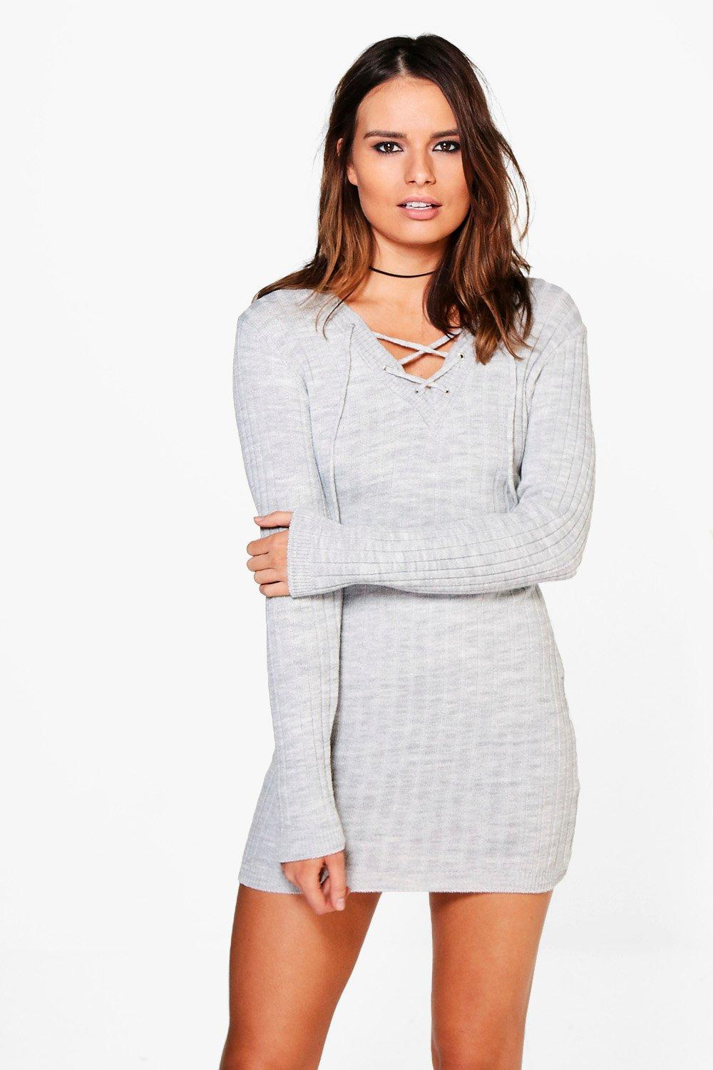 Eliza Lace Up Rib Knit Jumper Dress