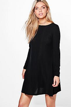 Emily Rib Knit Swing Dress