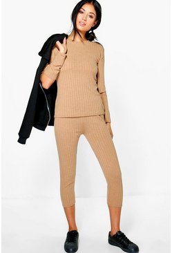 Megan Slash Elbow & Crop Legging Loungewear Set