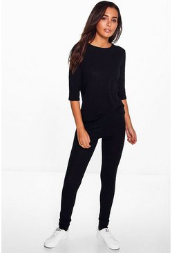 Ruth Tee & Leggings Rib Knit Loungewear Set