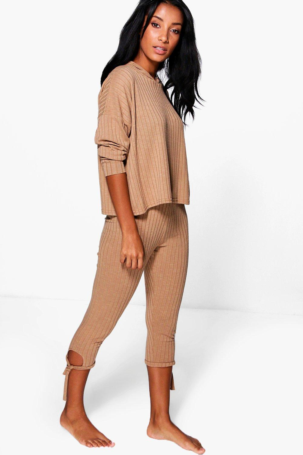 Maisie Hoodie & Lace Up Rib Knit Loungewear Set