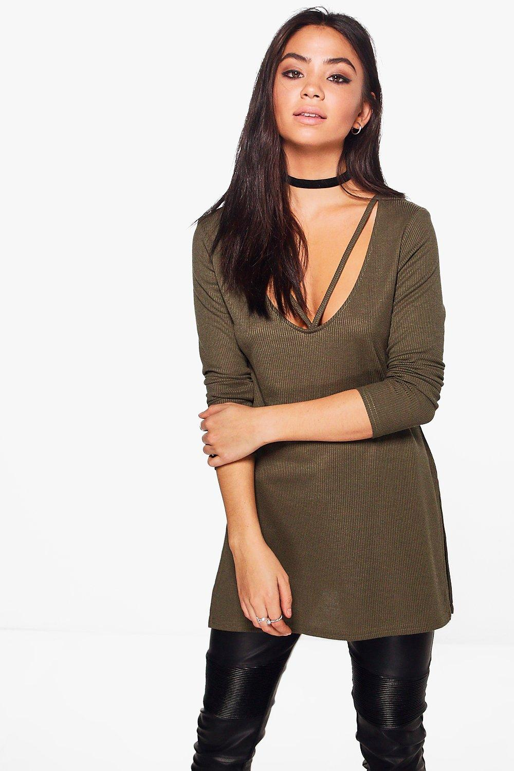 V-Neck Strap Detail Rib Knit Jumper - khaki