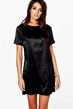 Franceska Fine Stripe Satin Shift Dress