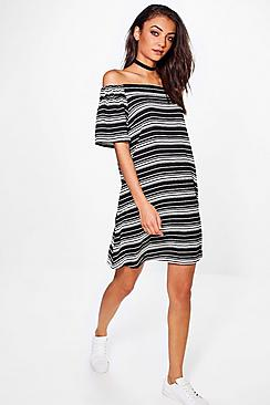 Tall Amber Stripe Off Shoulder Swing Dress
