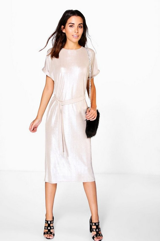 Rebecca Metallic Rib Tie Waist Collum Dress