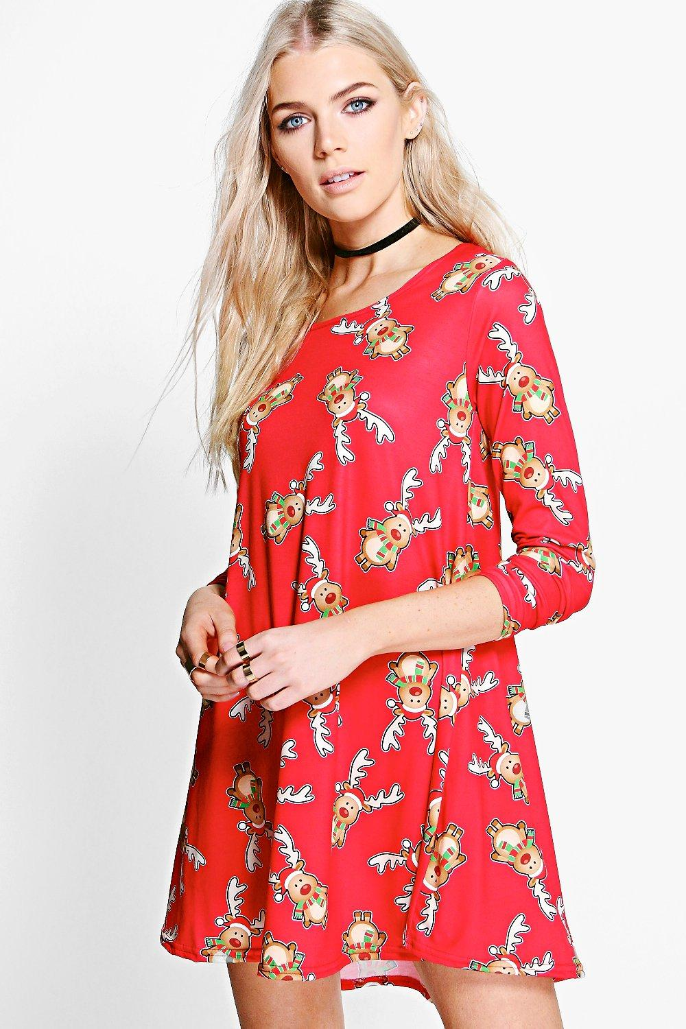 Hope Rudolph Christmas Swing Dress