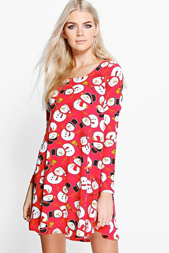 Noelle Christmas Snowman Swing Dress