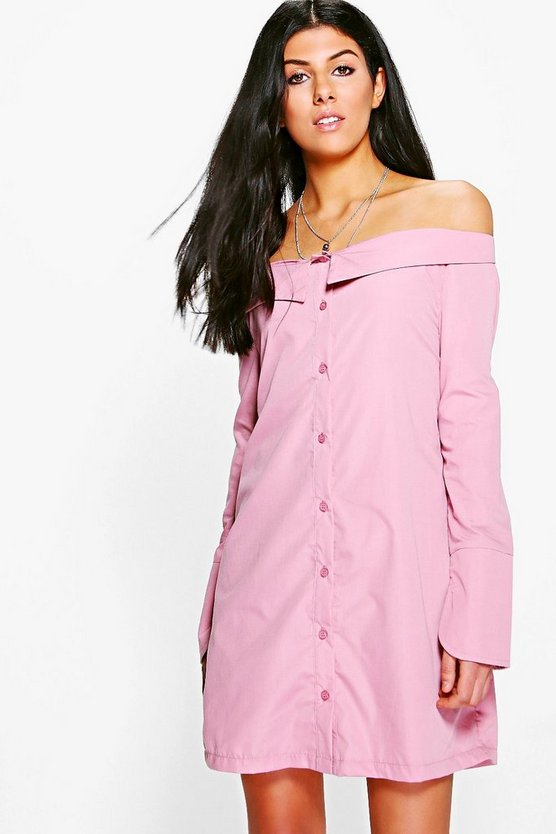 Sheila Off Shoulder Shirt Dress