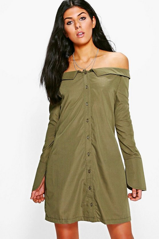 Off Shoulder Shirt Dress