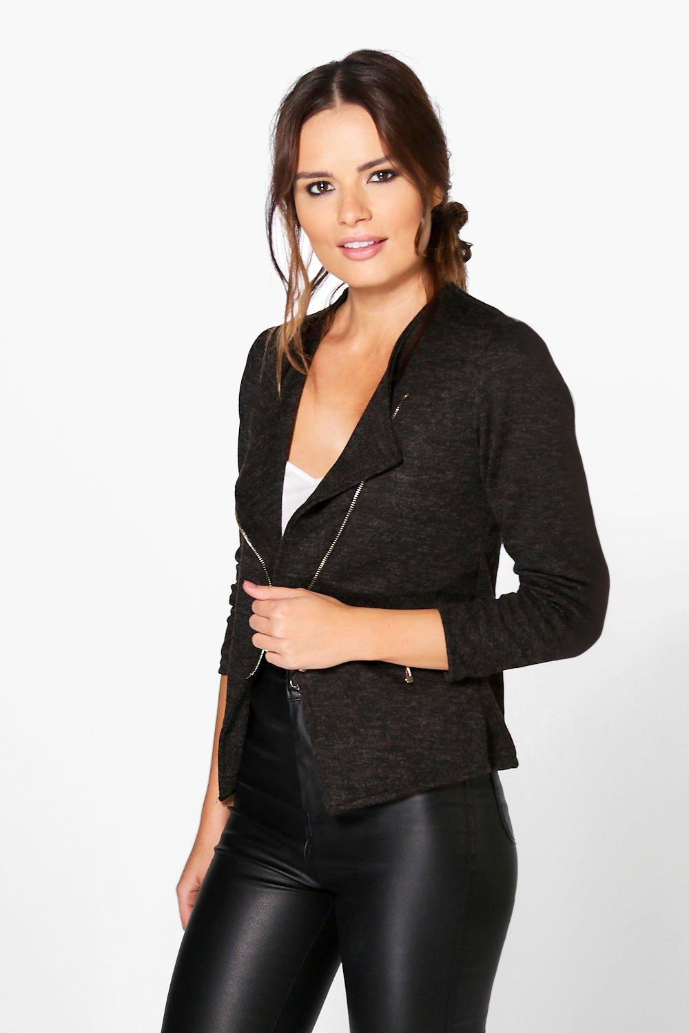 Imogen Wool Look Biker Jacket