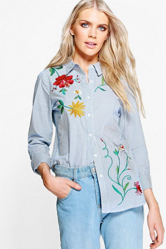 Maisie Embroidered Front Stripe Shirt