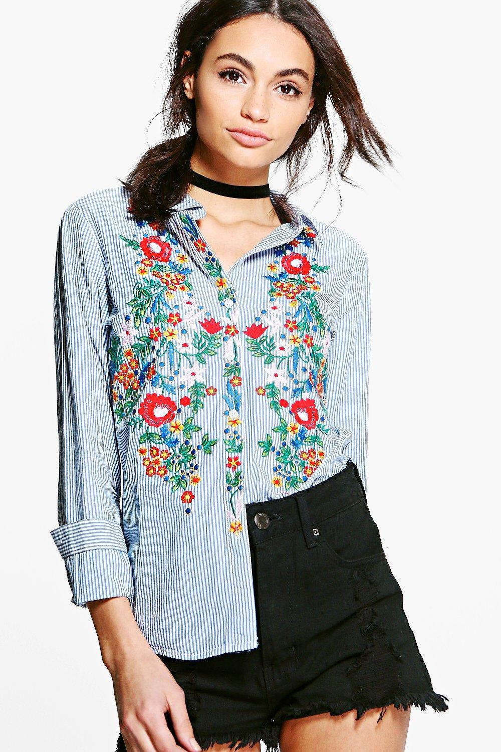 Liz Heavy Embroidered Front Stripe Shirt