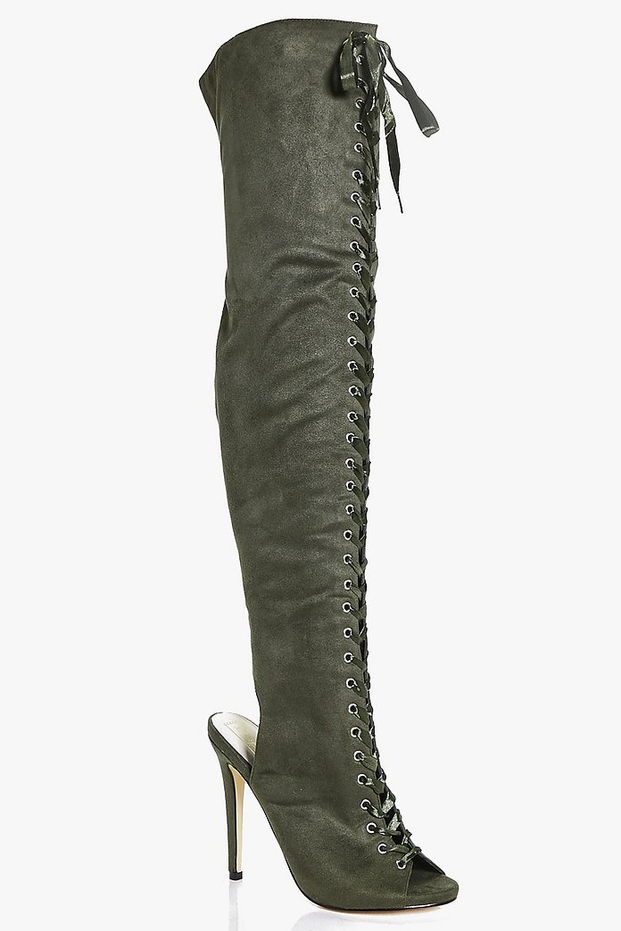 Edith Lace Up Thigh High Boot