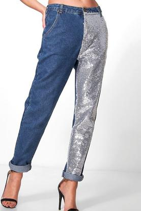 Hatty High Rise Sequin Leg Boyfriend Jeans