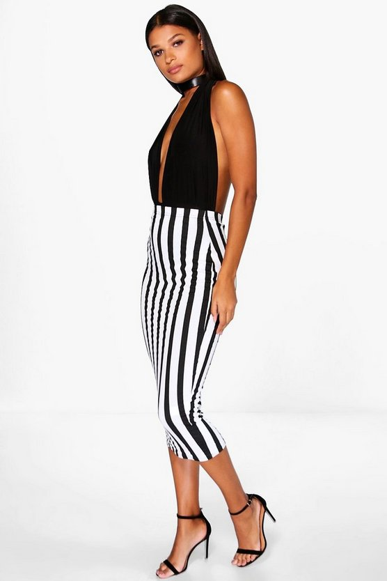 Laila Monochrome Striped Longer Line Midi Skirt