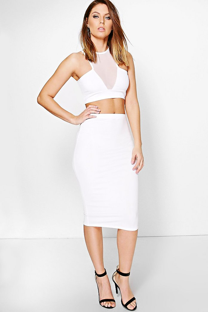 Nadia Mesh Detail Crop & Midi Skirt Co-Ord Set