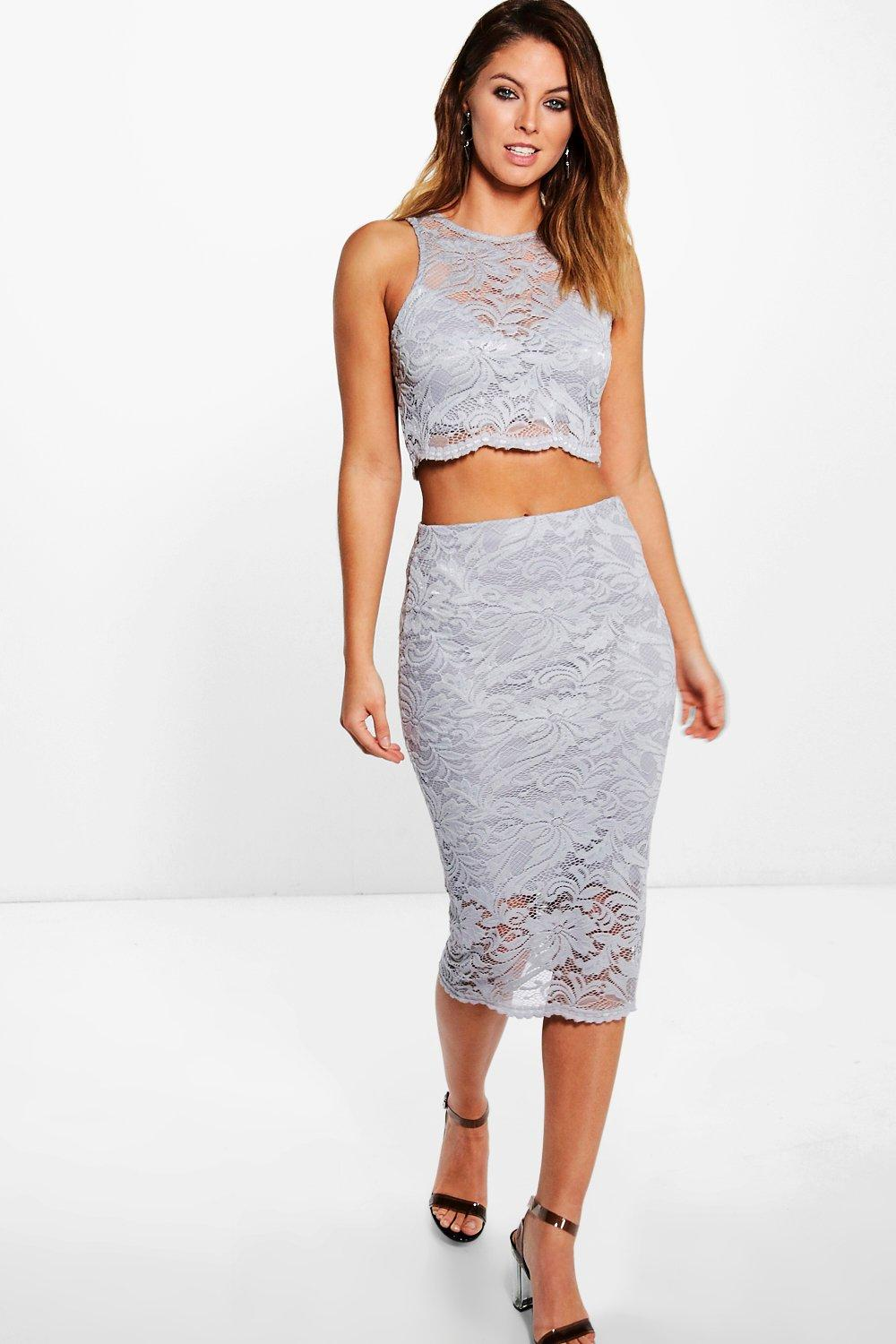 Lily Lace Scallop Crop & Midi Skirt Co-Ord Skirt